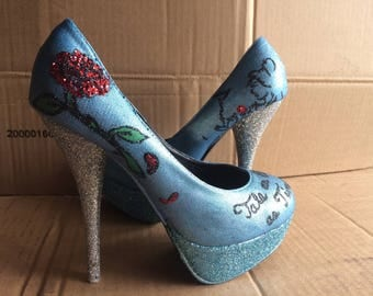 Made To Order: Hand Painted Disney Princess Beauty and the Beast Inspired Women Pump High Heel Shoes with Glitter