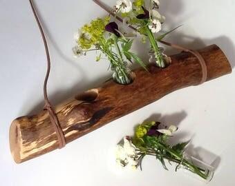 Hanging branch bud vases, Natural weathered branch, Wooden bud vase.