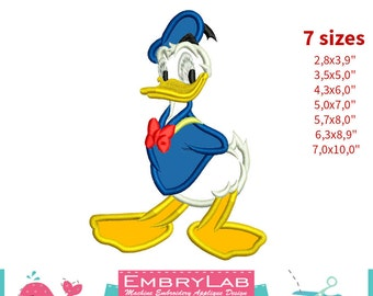 Applique Donald Duck. Mickey Mouse and Friends. Machine Embroidery Applique Design (16291)