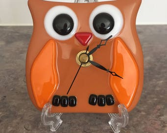 Fused Glass Mini Owl Clock