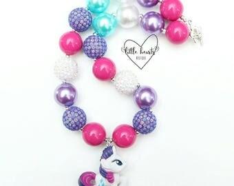 Rarity My Little Pony chunky bubblegum necklace