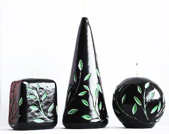 Резные свечи ручной работы - стильные резные свечи - черные резные свечи - черный зеленый - интерьерные резные свечи - уникальные свечи
