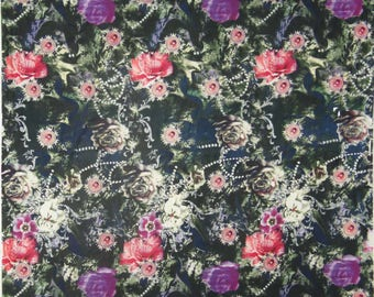 "Upholstery Fabric, Floral Print, Dress Fabric, Sewing Material, Craft Fabric, 42"" Inch Cotton Fabric By The Yard ZBC7566D"