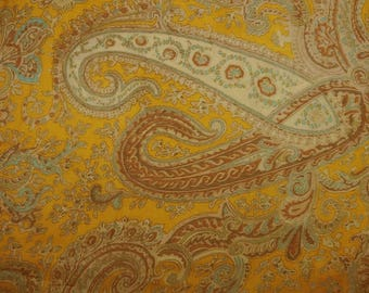 "Home Decor Fabric, Paisley Print, Sewing Fabric, Dress Material, Yellow Fabric, 44"" Inch Chiffon Fabric By The Yard ZBCH132C"
