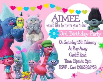 Beautiful Trolls Birthday Party Invitations x 10 with envelopes