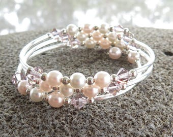 Pink and Cream Pearl Memory Wire Bracelet, Crystal and Pearl Bracelet, Bridal Wedding Bracelet