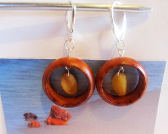 Wooden wood ring Earrings 4.4 gr. Natural baltic amber beads yellow egg yolk butterscotch silver color French clasp, adult Chandelier