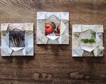 set of 3 origami picture frames made of old maps