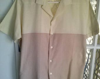 80s smart casual short sleeved mens vintage shirt size L
