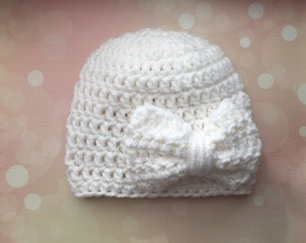 Bow Crochet Beanie// Baby Beanie// Bow // Crochet baby hat// teal bow// baby girl hat