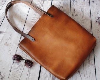 Distressed amber leather tote, leather bag, leather purse, leather tote, leather shopper, leather handbag