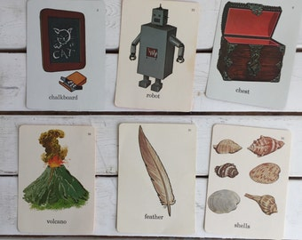 Vintage Flash Card Tools Volcano Seashells / 70's Flash Cards