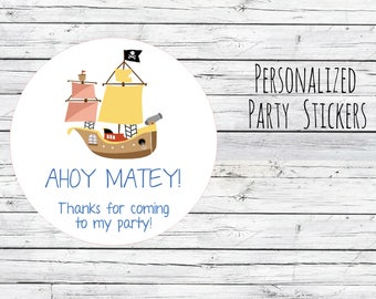 12 or 20 or 35 Personalized Pirate Ship Stickers, Birthday,Boats, Birthday Party Favor, Thank You Tags, Stickers Choose Size