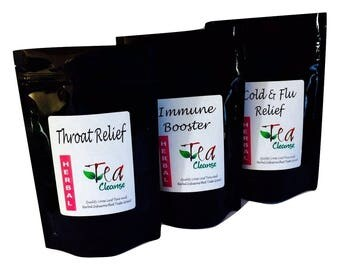 MULTIPACK Recovery Teas - Tea Cleanse | 3 flavours | To support cold, flu, sore throat and boosts the immune system | UK Handmade