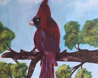 Oil Painting on Canvas, Wall Art, Cardinal Bird