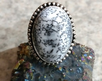 Dendritic Opal Ring, Size 7 1/2