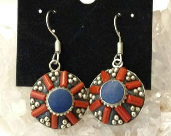 CLEARANCE *Red Coral and Lapis Earrings