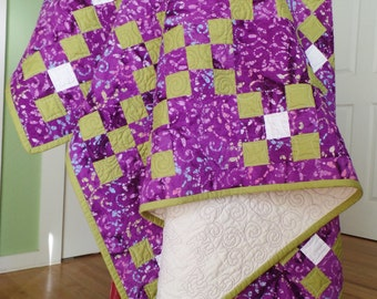 Modern Batik Quilt, Handmade quilt, Purple and Green Quilt, Traditional Nine-Patch Quilt, Queen Size Quilt, FREE SHIPPING!