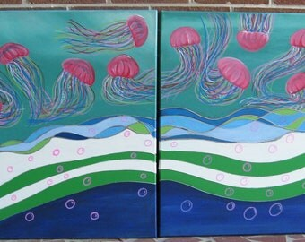 Jellyfish Art Jellyfish Painting Pink Jellyfish Jellyfish Wall Art Stained Glass Jellyfish Beach Decor Teal Art Teal and Pink Abstract Ocean