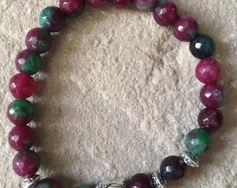 Pink Tourmaline, Amazonite, gold sand & green agate faceyed 8mm semi precious gemstone bracelets healing spiritual reiki