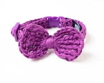 Dog bow tie collar, crochet dog collar, soft puppy collar, unique dog collar, pet bow tie, chihuahua collar, small dog neckwear, cute dog
