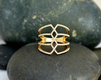 14K Yellow Gold Geometric Ring with Diamonds