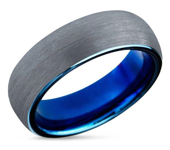 Mens Wedding Band Blue Tungsten Ring Silver 8mm Wedding