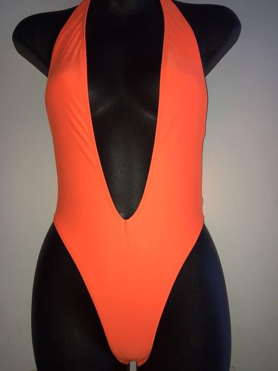 ORIGINAL *** MissManeater deep V front cheeky scrunch bum high cut one piece swimsuit ***BRAZILIAN cut!