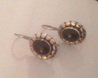 Sterling Silver Signed (BA) Black Onyx Pierced Earrings
