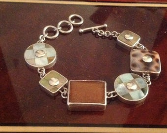 SANDY BAKER Sterling Silver Toggle Bracelet with Mother-of-Pearl Inlay, Abalone Shell & Ombre Coral..BEAUTIFUL!