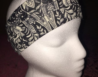 Stretchy Thick Headband/Sweatband that Stays Put. Black and White Paisley