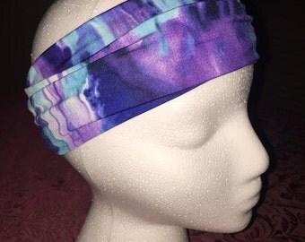 Stretchy Thick Headband/Sweatband that Stays Put. Purple and Blue Tye Dye