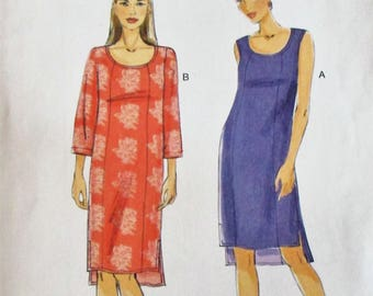 Vogue Very Easy pattern, V8809, misses petite dress, semi-fitted/lined pullover dress, sleeveless/long sleeve dress, sz: 16, 18, 20, 22, 24
