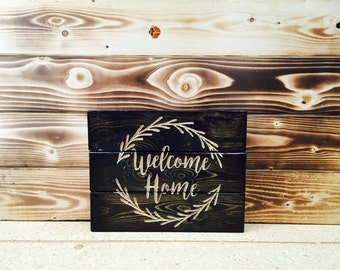 Carved Welcome Home Pallet Sign FREE SHIPPING in the USA