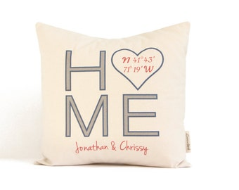 Personalized Home Pillow, Home Coordinates, Housewarming Gift, Realtor Closing Gift, Just Moved, Gift For Her, Gift for Him