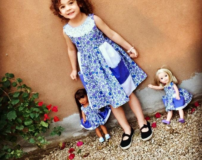 "Matching Custom 2 Pocket Dress with matching 18"" doll dress"