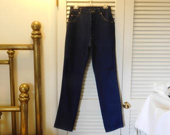 Vintage Lee Darker Blue Jeans High Waist New Never Worn Made In USA Tag Says 14 Long  H