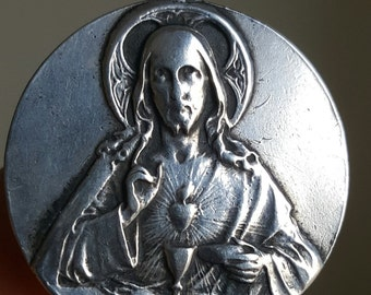 Antique Spanish Engraved Communion Medal Sterling Catholic Jewelry Engraved CO OC April 21, 1911 Jesus Christ Sacred Heart Initicals OC  co