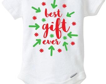 Best Gift Ever Baby Christmas Onesie Design, SVG, DXF, EPS Vector files for use with Cricut or Silhouette Vinyl Cutting Machines