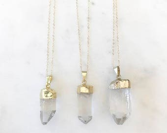 Solanine Gold Plated Quartz Crystal Pendant