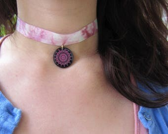 Hippy Chocker Necklace - Tie Dye
