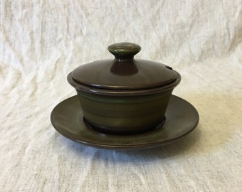 Vintage Franciscan Madeira Round Gravy Boat with Underplate, Mid Century Dishes