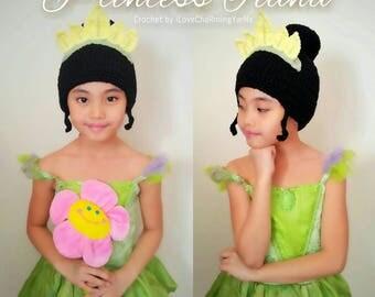 Princess Tiana, princess tiana wig hat, disney princess tiana crochet hat, princess tiana costume hat,disney character hat,tiana crochet hat