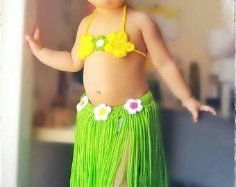 Crochet hawaiian hula set, baby hula outfit,hula girl outfit, girls hawaiian costume,hula costume,hula baby photo props, baby summer outfit