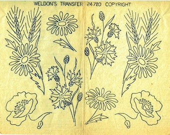 Genuine Vintage 1950s WELDONS 'All Nature of Flowers' Sewing Transfer with Thistles, Dog Rose, Poppy, Daises etc.....Iron On