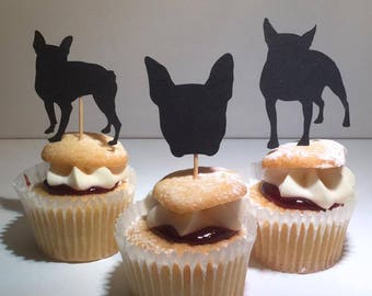 French bulldog cupcake toppers - party decor -  Birthday cupcake toppers - dog lover - groomer - party decorations - french bull dog