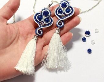 Long Soutache Earrings. White Tassel Earrings. Soutache blue earrings. Sterling Silver Earrings. Dangle Bead Earrings. Silver jewelry