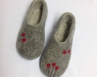 Sale-22% OFF Gray Felted Wool Woman Slippers, House Shoes , Organic Sheep Wool Slippers , Felted Clogs, Gift for Her, Christmas gift