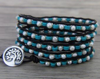 Turquoise & Pearl wrap bracelet Pearl leather bracelet 5 wraps bead bracelet Boho bead wrap bracelet Turquoise wrap bracelet jewelry SL-0466
