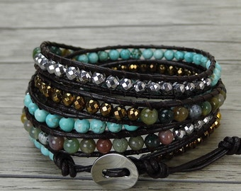 leather bead bracelet boho leather wrap bracelet hematite turquoise Indian agate bead wrap bohemian bracelet SL-0433